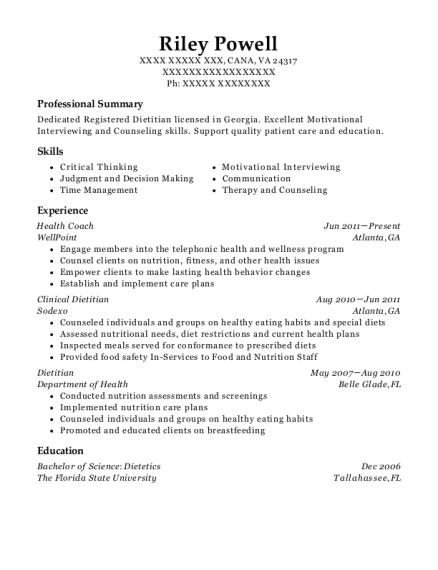 best clinical dietitian resumes resumehelp