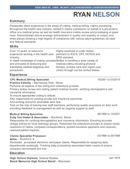 practice velocity cpc medical billing specialist resume sample