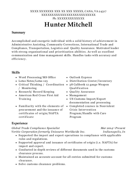 View Resume. Global Trade Compliance Specialist