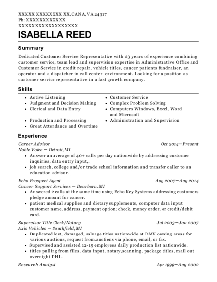 view resume career advisor