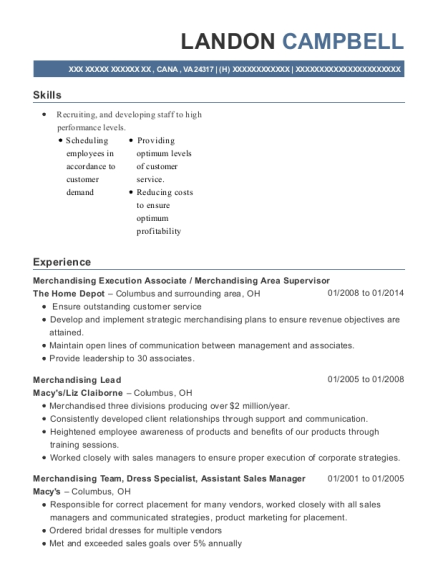 the home depot merchandise execution associate resume