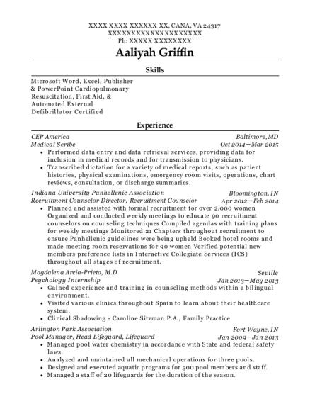 Dr Pedro Morales Tim Carlson Family Practice Scribe Resume