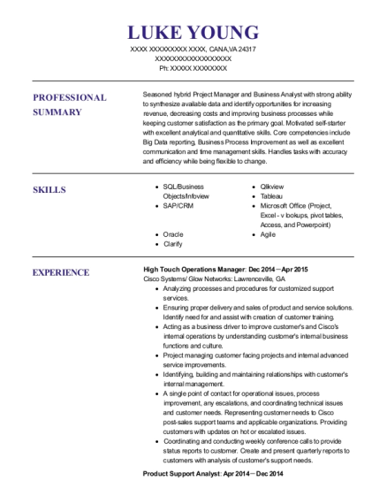 cisco systems high touch operations manager resume sample cana