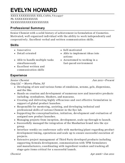 Evelyn Howard  Chemist Resume