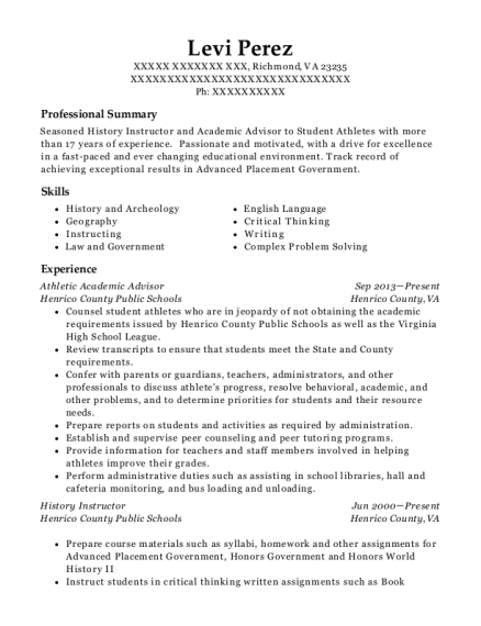 levi perez - Academic Advisor Resume