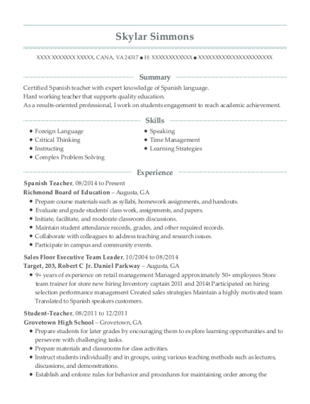 View Resume  Spanish Teacher Resume