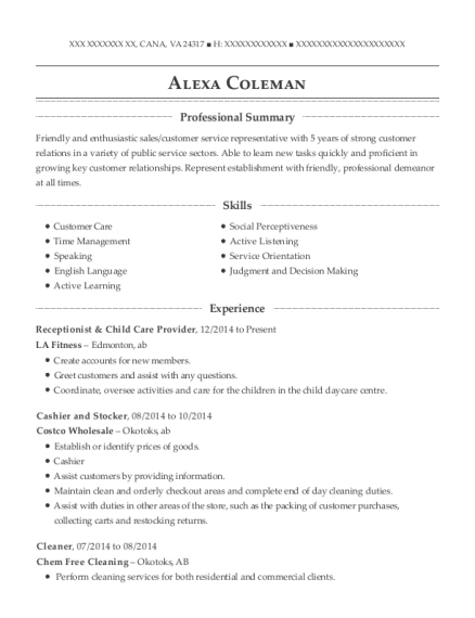 View Resume Receptionist Child Care Provider