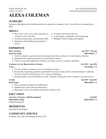 Costco Customer Service Representative Stocker Resume Sample