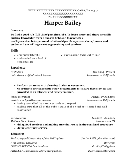 view resume - Sample Resume For Service Crew In The Philippines
