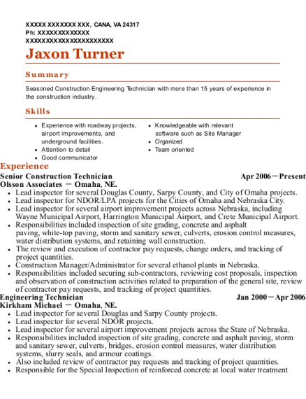 Best Senior Engineering Technician Resumes | ResumeHelp