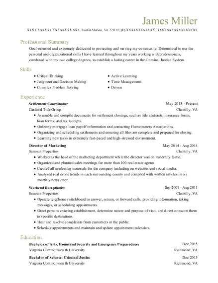 cardinal title group settlement coordinator resume sample fairfax