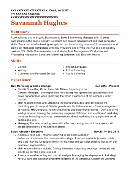 Sales manager resume help