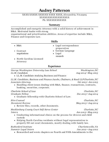 George Washington University Law School Llm Candidate Resume Sample ...