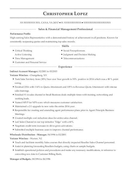 verizon wireless indirect account manager resume sample cana