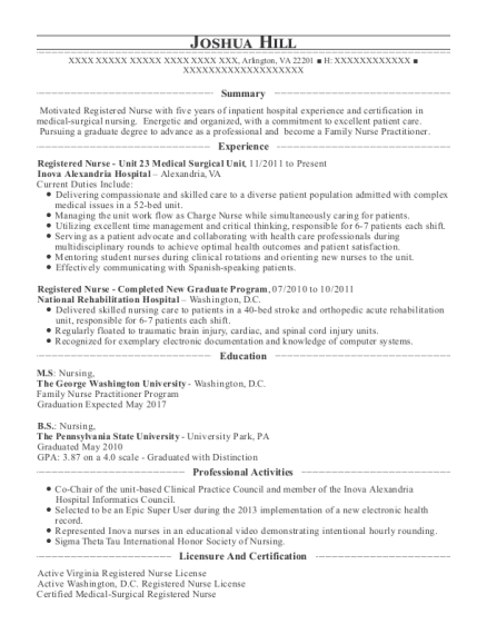 Inova Alexandria Hospital Registered Nurse Unit 23 Medical Surgical ...