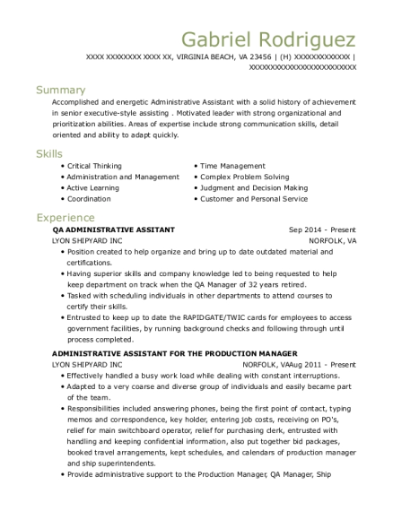 best temp to hire admin  asst prod dept resumes