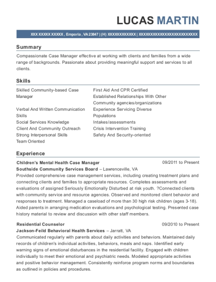 View Resume. Childrens Mental Health Case Manager