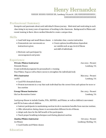 Ferraiolo Fitness Private Pilates Instructor Resume Sample