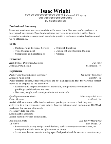 amazon fulfilment packer and kickout resume sample richmond