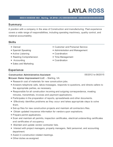 view resume construction administrative assistant