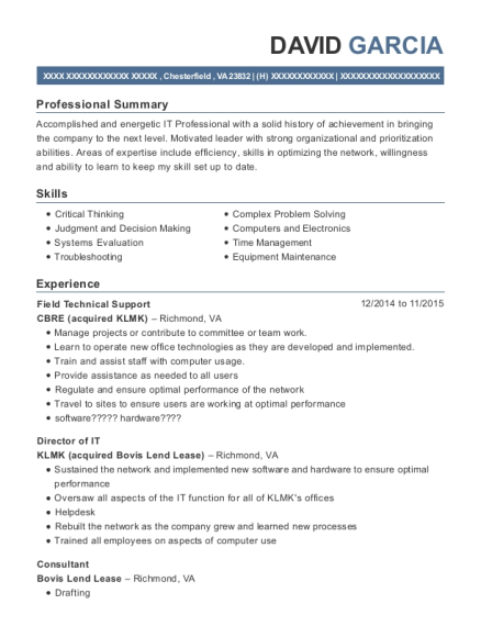 Cbre Acquired Klmk Field Technical Support Resume Sample ...