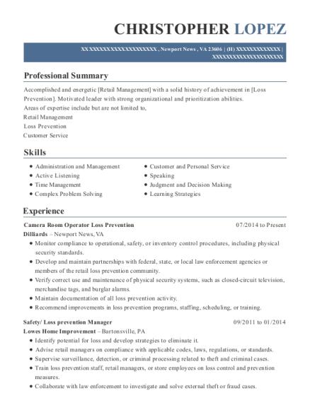 view resume camera room operator loss prevention