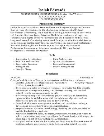cities - Solution Architecture Resume
