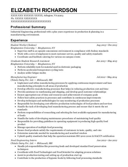elizabeth richardson - Student Research Assistant Resume Sample