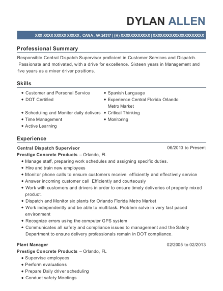 View Resume. Central Dispatch Supervisor