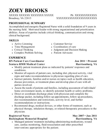 Sentara Rmh Medical Center Rn Patient Care Coordinator Resume Sample