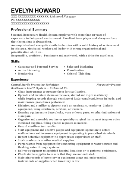 best central sterile processing technician resumes resumehelp