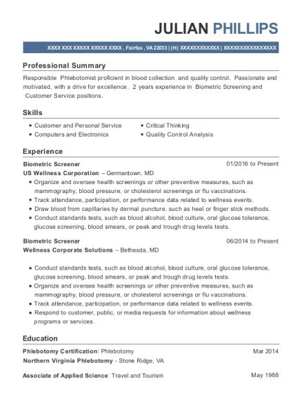 Us Wellness Corporation Biometric Screener Resume Sample - Fairfax ...