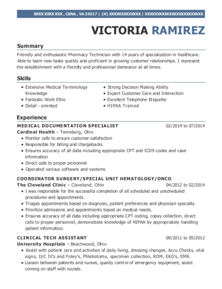 View Resume. MEDICAL DOCUMENTATION SPECIALIST