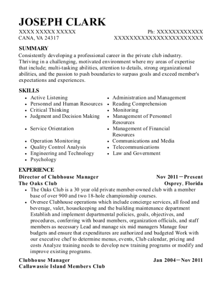 The Oaks Club Director Of Clubhouse Manager Resume Sample - Cana ...