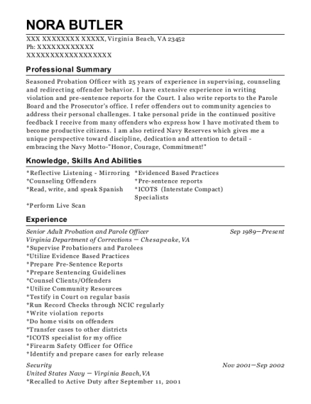 View Resume Senior Adult Probation And Parole Officer