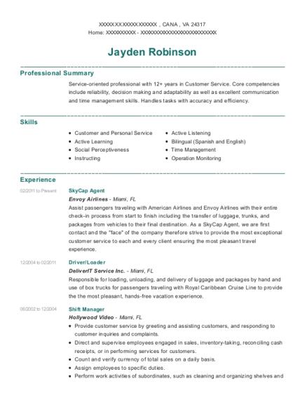 View Resume. SkyCap Agent