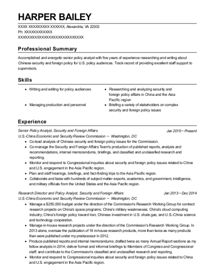 best senior policy analyst resumes