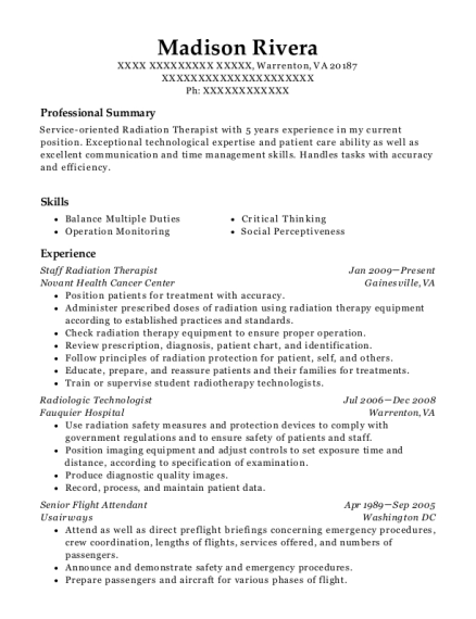 Great Staff Radiation Therapist. Customize Resume · View Resume Throughout Radiation Therapy Resume