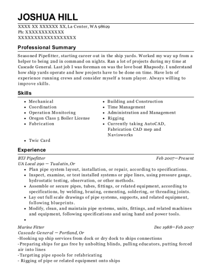 Joshua Hill   Pipefitter Resume Samples  Pipefitter Resume