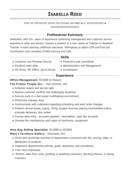 Doherty Management Office Management Resume Sample - Thonotosassa ...