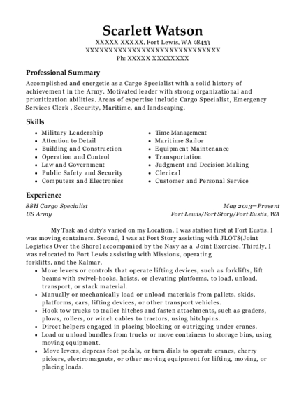 united states army 88h cargo specialist resume sample