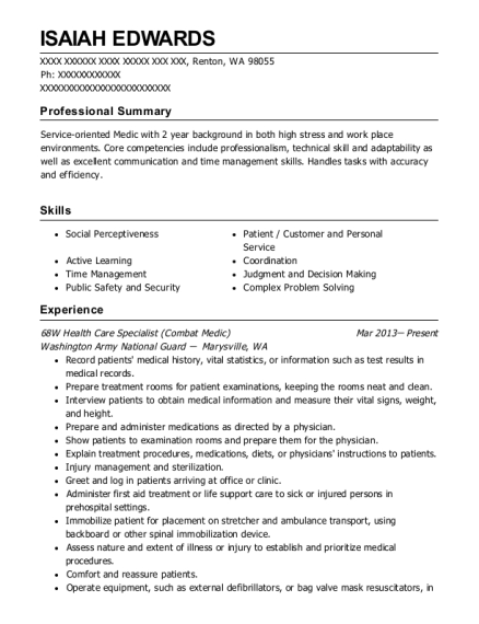Washington Army National Guard 68w Health Care Specialist Resume