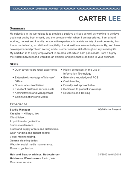 View Resume Studio Manager