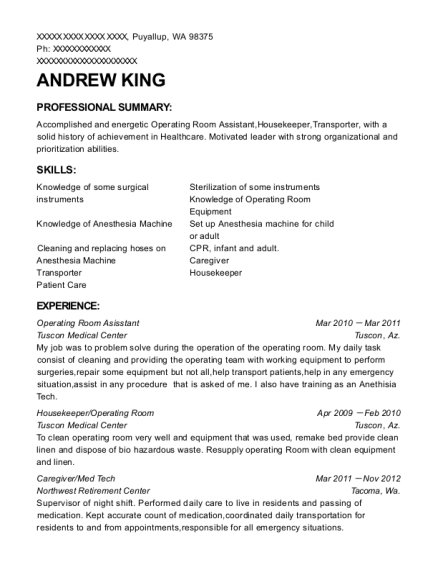 Andrew King  Med Tech Resume