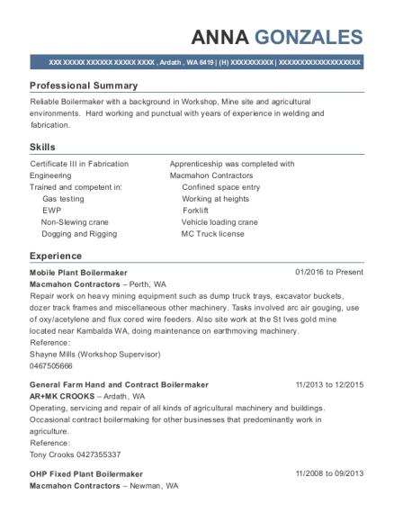 View Resume Mobile Plant Boilermaker