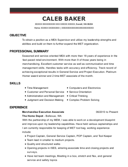 the home depot merchandise execution associate resume sample