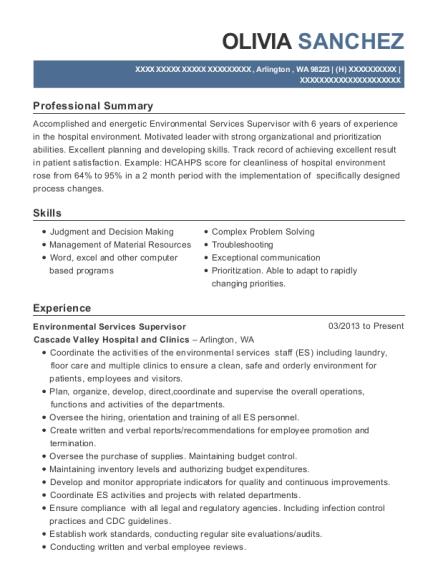 Superb View Resume. Environmental Services Supervisor