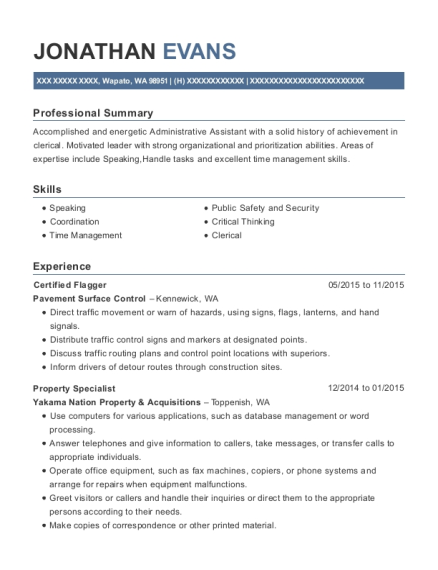 area wide protective certified flagger resume sample