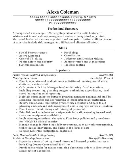 nursing supervisor resumes