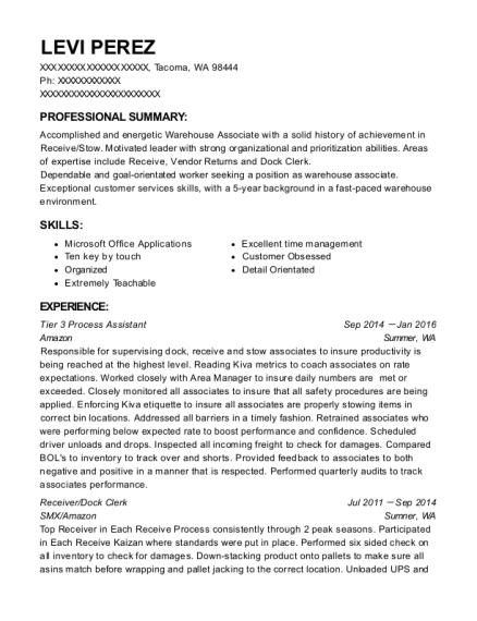 amazon tier 3 process assistant resume sample tacoma washington